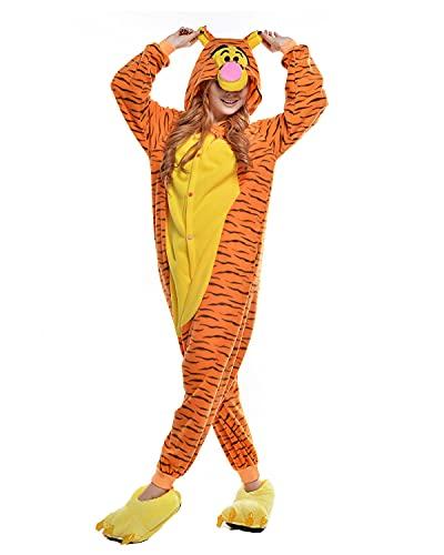 NEWCOSPLAY Adult Donkey Unisex Pyjamas Halloween Onesie Costume (S, Jump Jump Tiger)
