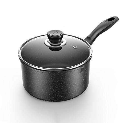 Olla de Leche Antiadherente Pequeña Olla de Sopa Con Tapa de Vidrio Templado, Mango de Olla Se Puede Colgar, Universal Para Cocina de Inducción / Estufa de Gas ( Color : Negro , tamaño : 16cm )