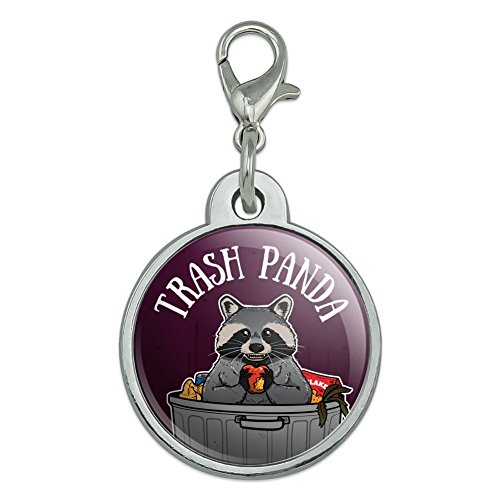 Graphics and More Raccoon Trash Panda in Garbage Chrome Plated Metal Pet Dog Cat ID Tag - Small