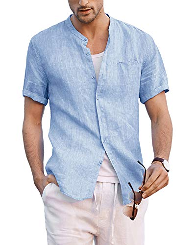 Enjoybuy Mens Linen Button Up Shirts Banded Collar Casual Short Sleeve Summer Comfort T-Shirts
