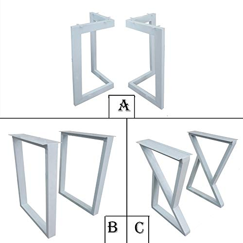 JRPT Furniture legs Tischbeine Große Auswahl Von 1,2 Mm Dicken Stahl,Tischkufe Tischuntergestell 3CmX6Cm Querschnitt,Mit Justierbarem Schraube Solide/Weiß/A / 45CM