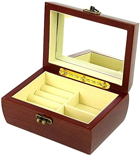 Caja de joyería de madera, caja de joyería pequeña, caja de joyería retro, caja de joyería femenina, 2 capas con caja de joyería de espejo, caja de joyería