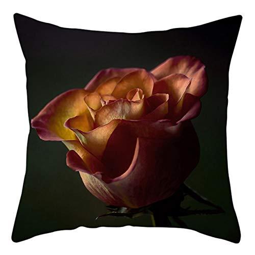KnBoB Funda de Almohada Aceituna Rosa Amarillo 45 x 45 cm Rosa Poliéster Estilo 39