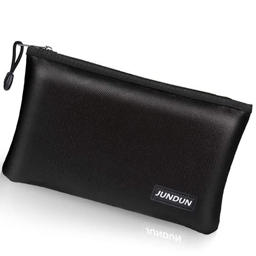 "JUNDUN Fireproof Money Bag, 10.6""x6.7"" Fireproof and Waterproof Cash Bag with Zipper Closure ,Fireproof Safe Storage Pouch Envelope for A5 File Folder,Document , Bank Deposit,Passport,Jewelry"