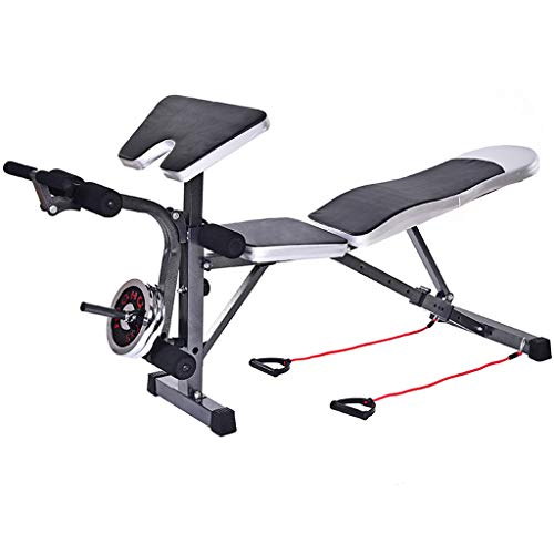 GFHFHITJ Home Strength Training Abdominal Waist Extension Stool - Adjustable Dumbbell Bench Weightlifting Bed - Multi-Function Fitness Bench with Leg Extension - Ship from USA (Black)
