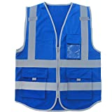High Visibility Vest Blue Safety Vest Reflective With Pockets and Zipper For Men...