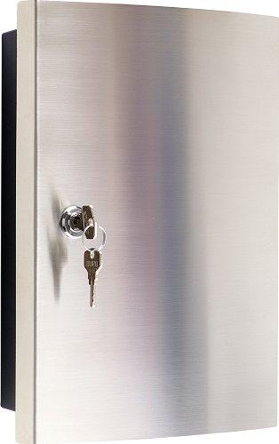 Schlüsselkasten mit Edelstahlfronttür gebürstet/Haky Box/Key Box/Schlüsselbox / Schlüsselschrank für 12 Schlüsselanhänger (inkl.)