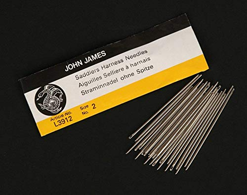 RMLeatherSupply - John James Saddlers Harness Needles (All Sizes) (Pack of 25) Blunt Tip for Leather Sewing … (Size 0 (1/0))