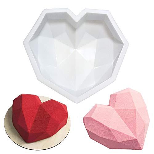 Diamant Herz Silikon Kuchen Form Silikon Backform Herz Kuchenform Herz Silikonform in Herzform Schokoladenform Silikonform Herzchen Eiswürfelform Nonstick Herz Muffinform für Kuchen Seifenformen