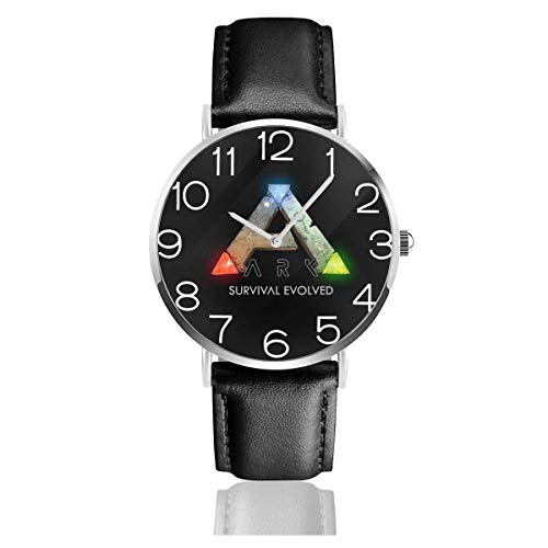 Men's Fashion Minimalist Wrist Watch Quartz Wrist Watch Ark Survival Evolved Logo Leather Strap Watch