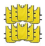Ronex Sports Pack de Petos de Entrenamiento 10 Unidades para niños, jóvenes y Adultos (Petos Deportivos, Petos de Futbol Amarillo, Joven (9-15 años))
