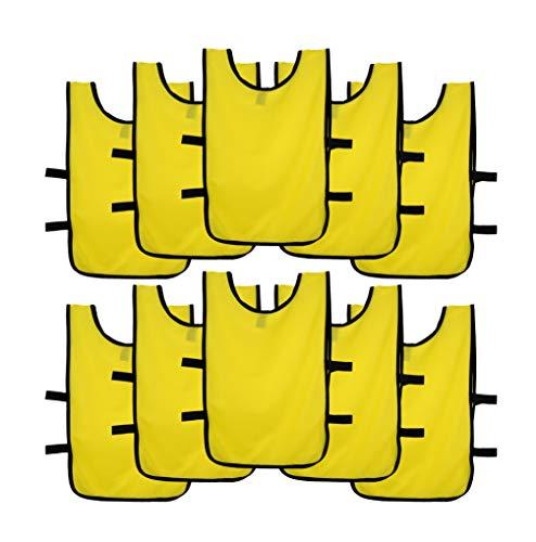Ronex Sports Pack de Petos de Entrenamiento 10 Unidades para niños, jóvenes y Adultos (Petos Deportivos, Petos de Futbol Amarillo, Niños (5-10 años))