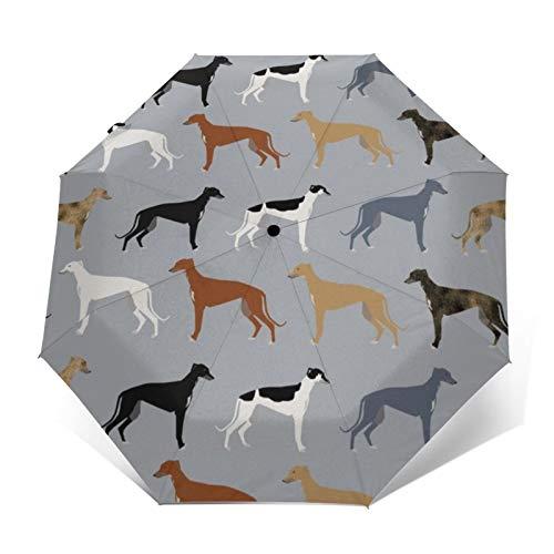 Paraguas automático triple plegable 3D exterior estampado galgos versión más grande perros...