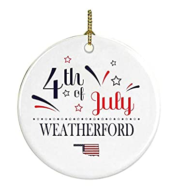 Patriotic Heart Ornament 4Th Of July Decorations For The Home Weatherford Oklahoma Independence Day Decorations Declaration of Independence America Pride Ceramic 3 inches White