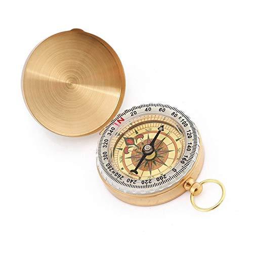 Ndier Brújula vintage de bolsillo, de cobre para camping, navegación y senderismo, color dorado
