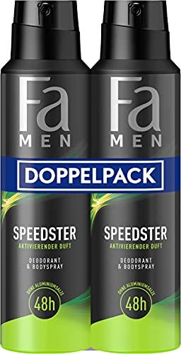 Fa Men Deodorant & Bodyspray Speedster mit aktivierend-frischem Duft, 48h Schutz 2er, 300 ml