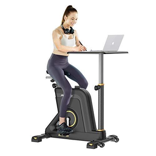 Pooboo Exercise Bike Desk Cycle Standing Desk Bike, 8 Magnetic Resistance, Height Adjustable, Super Quiet for Home Office School Indoor Bicycle Fitness (Black-Yellow)