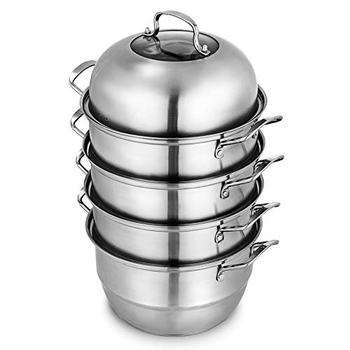 VEVOR Dampfkocher Stapelbar Dampfkochtopf Durchmesser 28,5 cm Dampfgarer Edelstahl 5 Etagen mit Glasdeckel, Rostfrei Dampfgarer Edelstahl Kartoffeldämpfer 22 x 28 x 15,5 cm