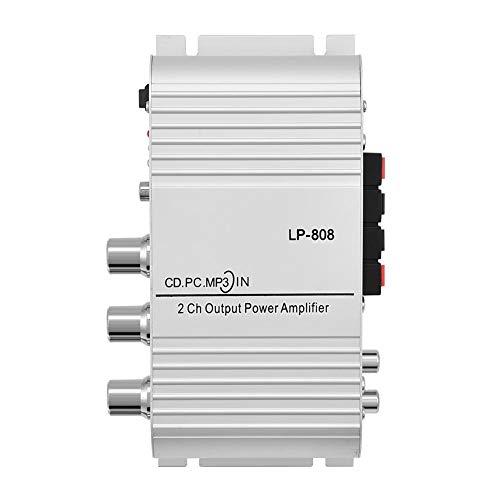 Mini amplificador digital para automóvil, 20 W 2 canales HiFi Bass Audio Amplificador de potencia Receptor de audio Amplificador de altavoz, Teléfonos móviles de asistencia, Reproductores de DVD