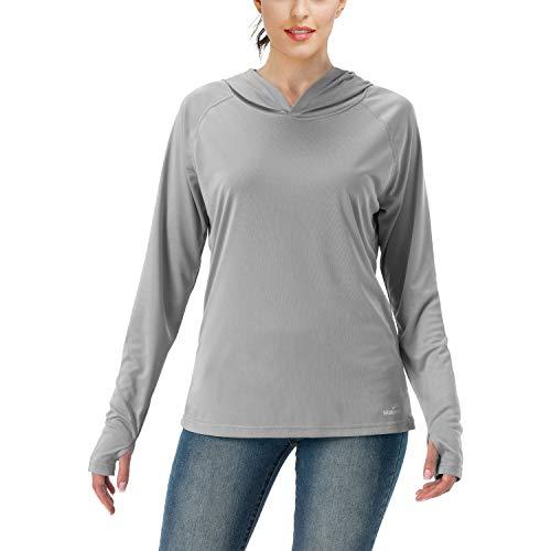 Women's UPF 50+ UV Sun Protection Hoodie Long Sleeve Hiking Shirt Outdoor Performance Running Fishing Hoodie ( Light gray, L )