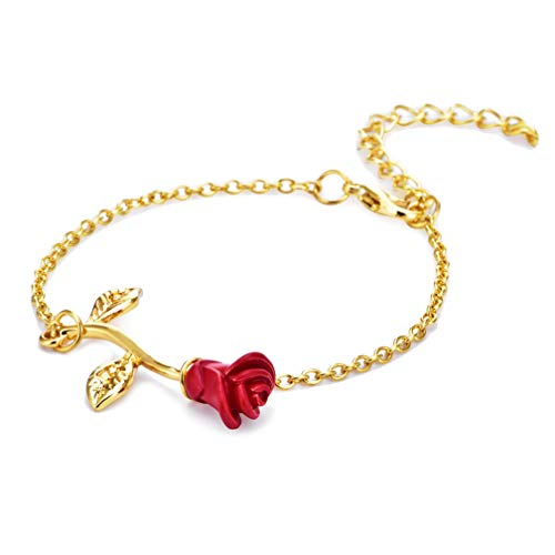 LJSLYJ Rose Bracelet Gifts for Women Gifts for Mom Beauty and the Beast Jewelry Rose Gold Bracelet,Gold
