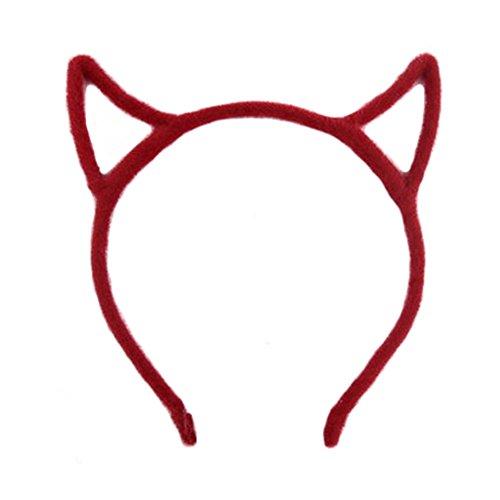 Oreilles de chat de style bandeau de cheveux Band Bandeaux pour les femme Rouge