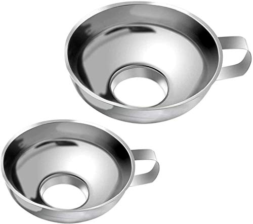 GDFS 2Pcs Imbuto per marmellata in acciaio inossidabile, imbuti per inscatolamento, attrezzatura per imbuto a bocca larga da cucina per il trasferimento di fagioli in polvere di olio fluido
