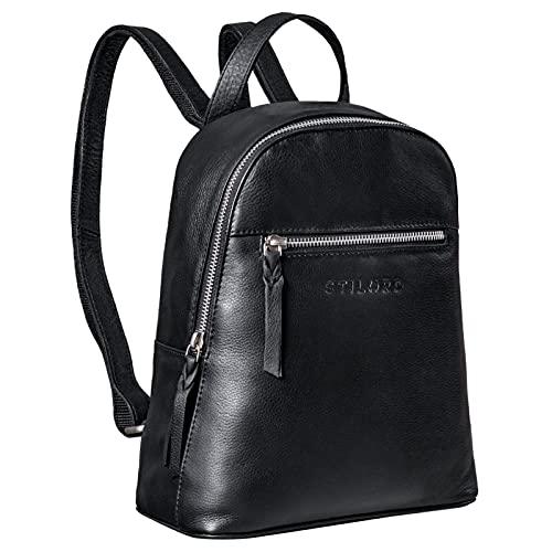 STILORD 'Amira' Bolso Mochila Piel Mujer Pequeño Bolso de Hombro Vintage Bolso Bandolera para Tableta 10,1 Pulgadas Daypack Backpack de Cuero Genuino, Color:Negro