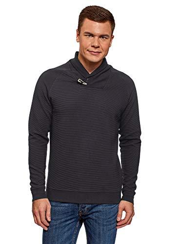 oodji Ultra Hombre Jersey de Tejido Texturizado con Cuello de Chal, Azul, ES 58-60 / XXL