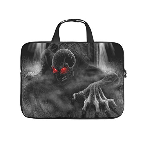 3D Horror Skull Skeletons Halloween Laptop Case Bag Slim Lightweight Multi-Color 10-17 Inch for Office White 15 Zoll