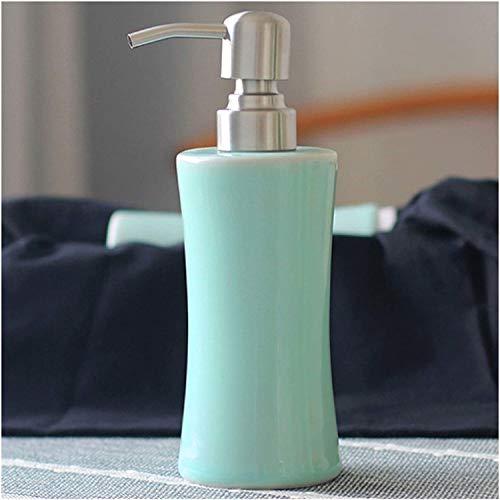 Dosificador de jabón Botella dispensadora loción Dispensador de jabón Botellas de jabón de cerámica Dispensador de lavavajillas recargable Liquidamiento líquido Botella de champú, con soporte de acero