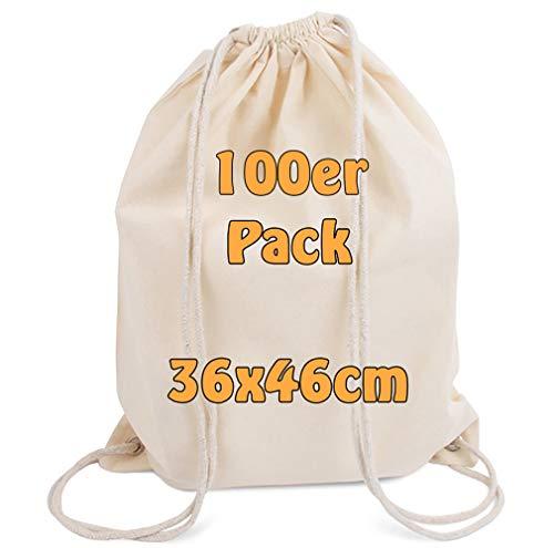 Cottonbagjoe Moderner Turnbeutel Baumwollrucksack Öko-Tex Standard Zertifiziert Stoffbeutel mit Kordelzug BEIGE 36x46cm (natur, 10)