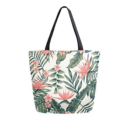 JinDoDo Canvas Bag Palm Tree Leaves Flower Reusable Tote Bag Women Handbag for Shopping Travel Beach School