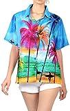 LA LEELA botón Camisa Hawaiana Blusa Playa Mujeres Cuello Manga Corta árboles Palma impresión del Traje de baño Partido S-ES Tamaño-42-44 Azul_X210