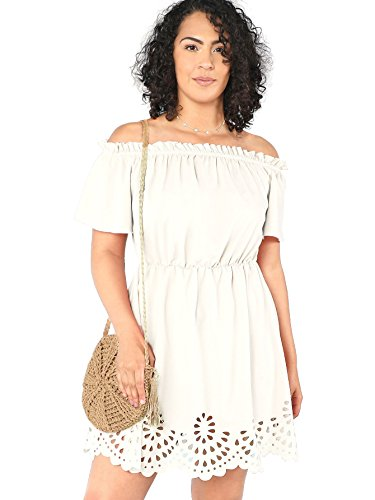 Romwe Women's Plus Size Off The Shoulder Hollowed Out Scallop Hem Party Short Dresses White 1X Plus