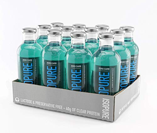Isopure 40g Protein Zero Carb ReadytoDrink Blue Raspberry 20 Ounce Pack of 12 …