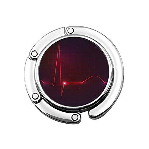 Niedlicher Faltbarer Geldbeutelhalter Geldbörsenhaken Roter Schlag Buntes menschliches Herz Normal Sinus Rhythmus Elektrokardiogramm