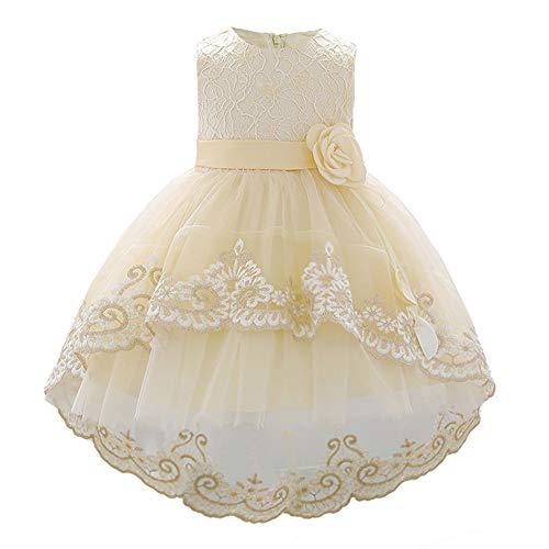FONLAM Vestido de Princesa Bautizo para Bebé Niña Vestido Boda Fiesta Cumpleaños Encaje Ceremonia Bebé (Champañero, 12-24 Meses)
