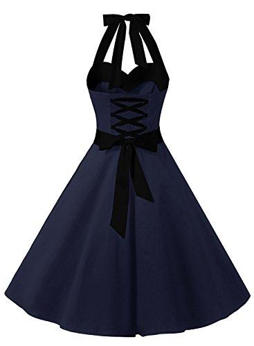 Dresstells Damen Neckholder 1950er Vintage Retro Rockabilly Kleider Petticoat Faltenrock Cocktail Festliche Kleider Navy Black M - 2