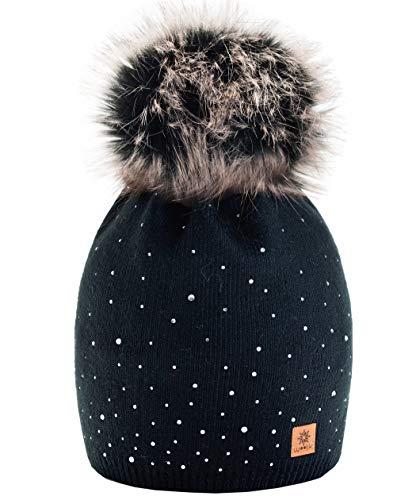 morefaz Winter Cappello Cristallo più Grande Pelliccia Pom Pom Invernale di Lana Berretto delle Signore delle Donne Beanie Hat Pera Sci Snowboard di Moda MFAZ Ltd (Black)