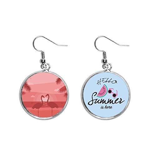 Pareja de flamencos rojo atardecer Art Deco regalo moda oído gota verano sandía pendiente desgaste