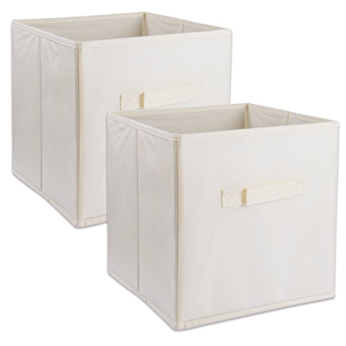 DII Foldable Fabric Storage Containers for Nurseries, Offices, Closets, Home Décor, Cube Organizers & Everyday Use, 11 x 11 x 11 Natural-Set of 2, Small