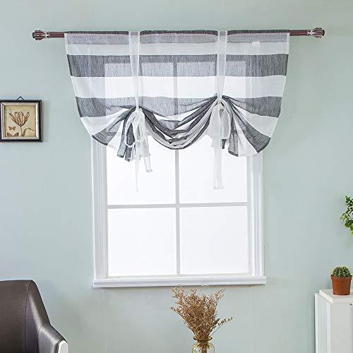 ToDIDAF Streifen Römischer Vorhang, Kurzer Durchsichtiger Gardine, Haus/Wohnzimmer/Schlafzimmer/Küche/Badezimmer Dekoration, 117x160cm (Grau)