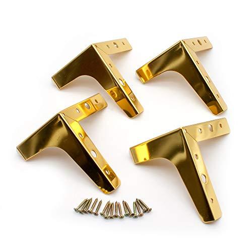 Patas para muebles, juego de 4 patas modernas de metal con forma de triángulo de diamantes para muebles, oro de repuesto para gabinete, armario, sofá, silla, otomana, 10 cm
