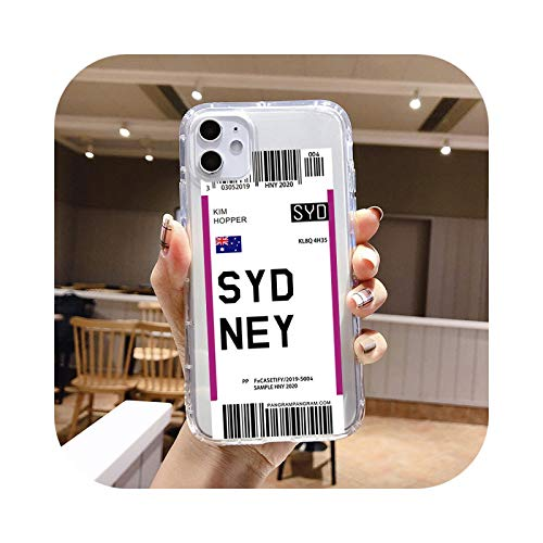 Individuality Air Tickets Londres New York funda para teléfono iPhone 11 Pro Max 7 6S 8 Plus X XS MAX XR suave TPU Silicona Cover - TPU Q415-Para iPhone 11 PRO