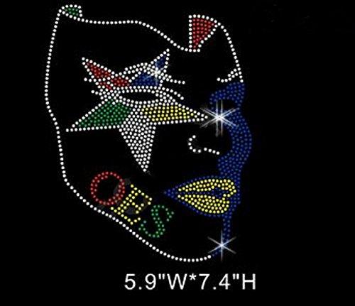 OES Afro Star Mask Rhinestone Iron on Transfer
