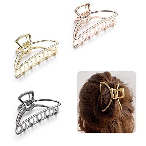 WIFUN 3 Stück Metall Krallen Clips, Klaue Clips Rutschfeste Haarnadel Haar Zubehör für Frauen Damen Mädchen Haarschmuck Festen(Gold Schwarz Roségold)
