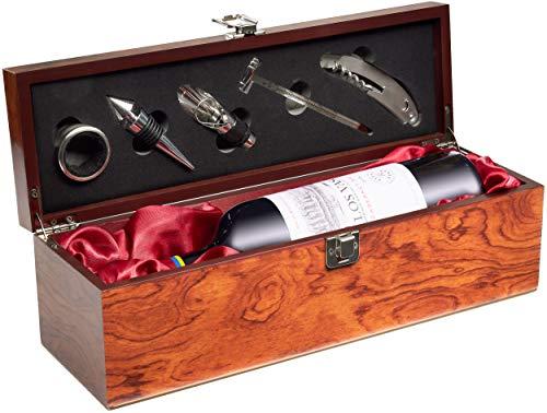 BRUBAKER Geschenkset Weinset mit 1 Flasche Rotwein Jahrgang 2018 Los Vascos Rot Cabernet Sauvignon - in Weinkiste mit Sommelierset