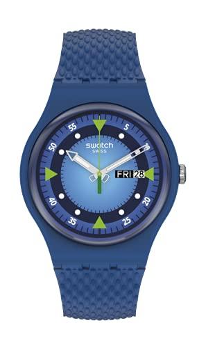Swatch Correa de material bio-fuente de cuarzo de caballero, azul, 18 reloj casual (Modelo: SO29N701)