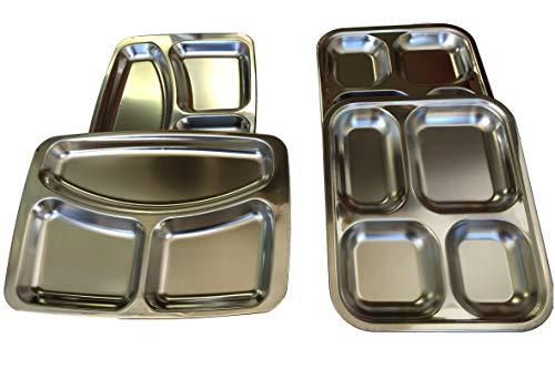 Meyerle Stahlwaren Kantinentablett/Essen Servier-Teller Edelstahl Glänzend rechteckig - 3 oder 4-Fach unterteilt / 2Stück oder 4 Stück wählen (4, 4-Fächer)